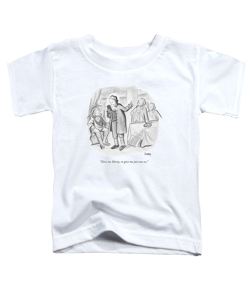 Founding Fathers Toddler T-Shirt featuring the drawing Give Me Liberty by Benjamin Schwartz