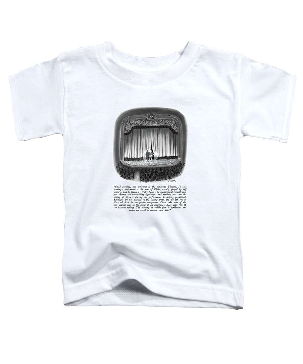 Man Making Announcements On Stage.  Theater Toddler T-Shirt featuring the drawing Good Evening by Henry Martin