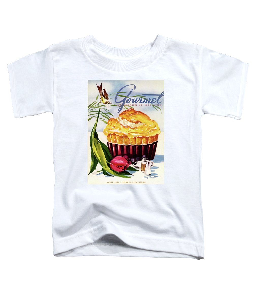 Illustration Toddler T-Shirt featuring the photograph Gourmet Cover Illustration Of A Souffle And Tulip by Henry Stahlhut