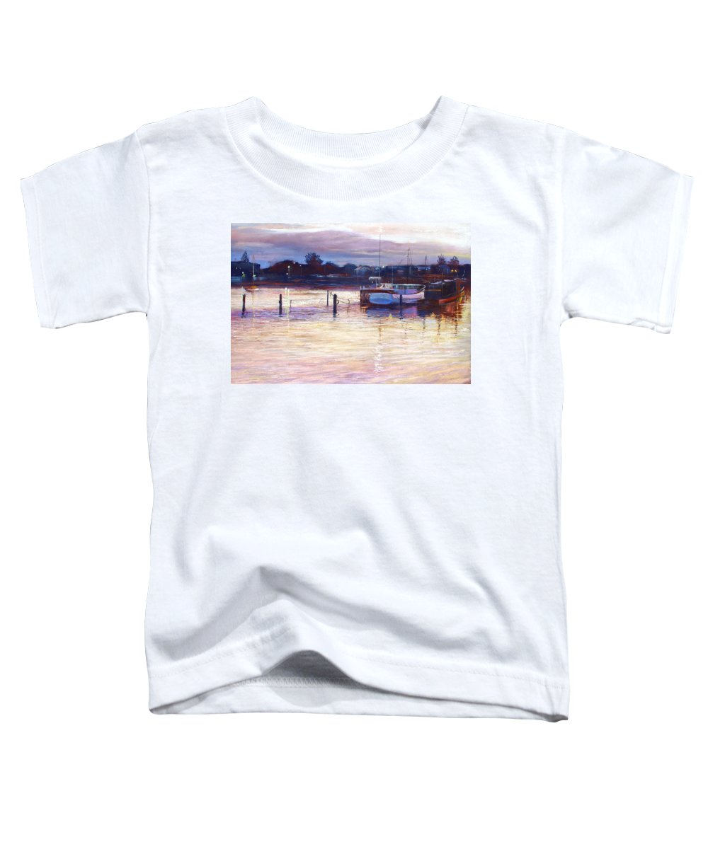 Lynda Robinson Toddler T-Shirt featuring the pastel Harbour Lights - Apollo Bay by Lynda Robinson