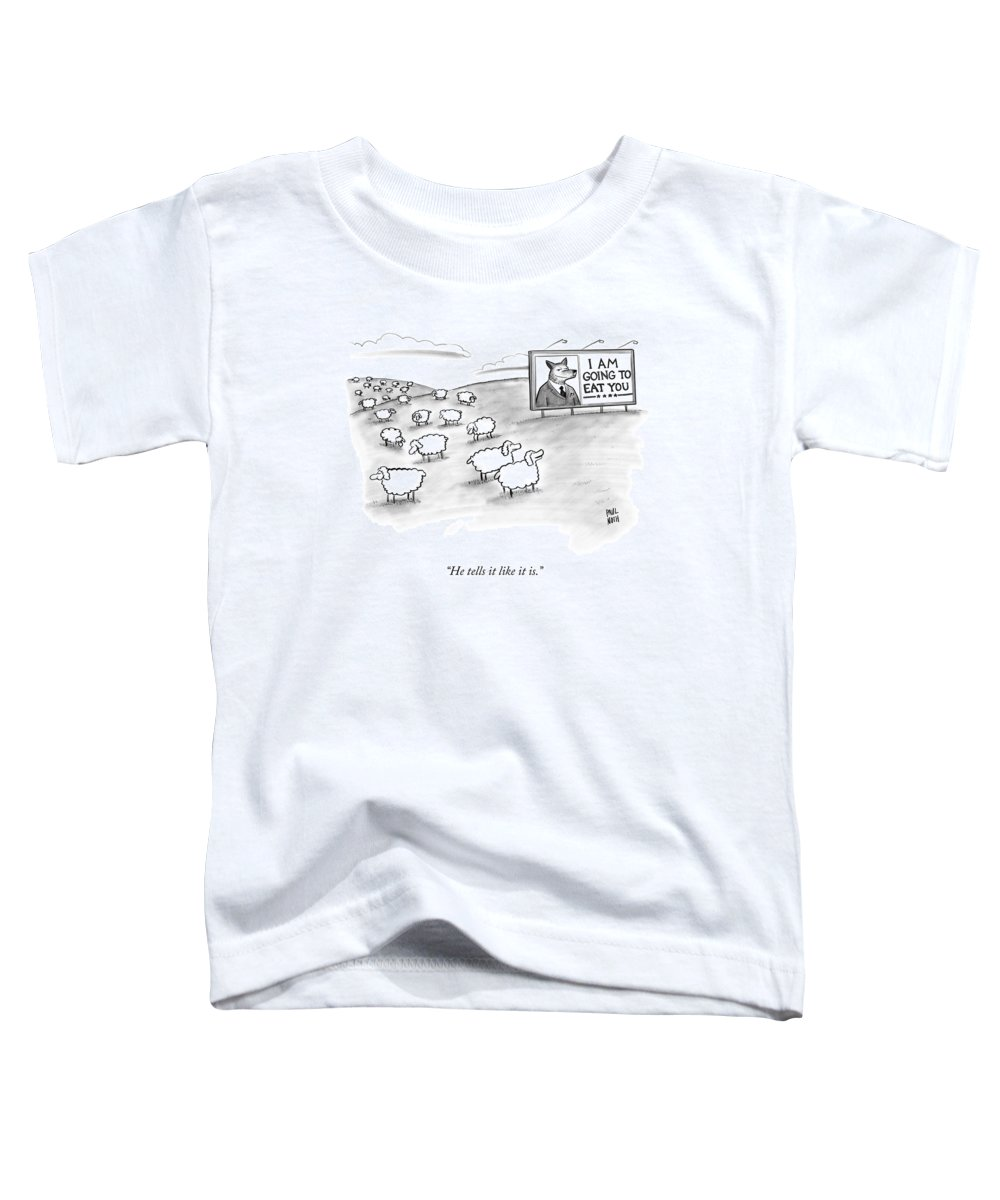 Sheep Toddler T-Shirt featuring the drawing He Tells It Like It Is by Paul Noth