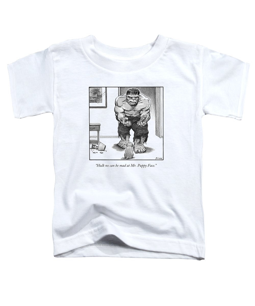 Hulk Toddler T-Shirt featuring the drawing Hulk No Can Be Mad At Mr. Puppy Face by Harry Bliss