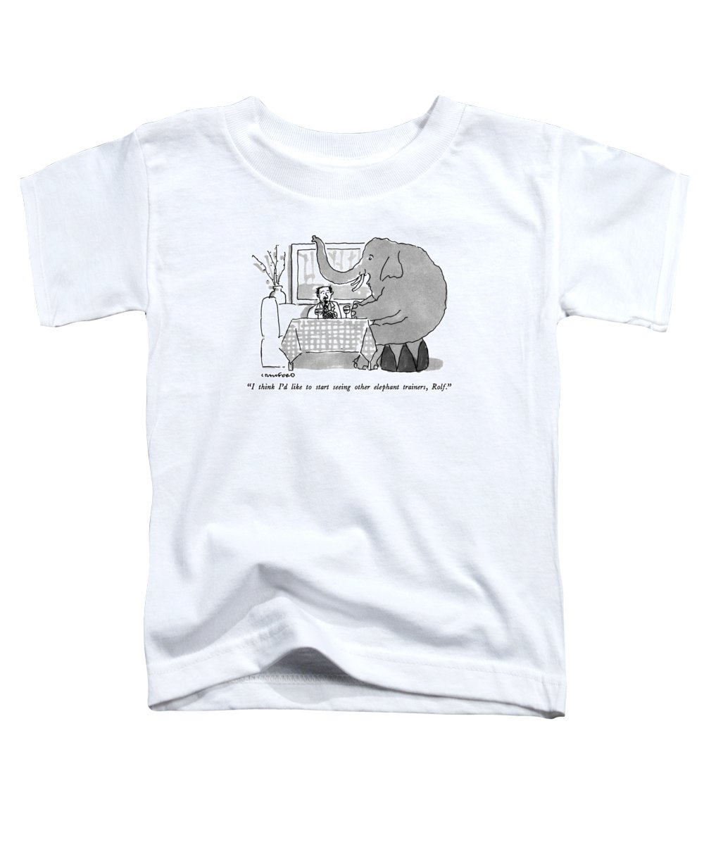 Animals Toddler T-Shirt featuring the drawing I Think I'd Like To Start Seeing Other Elephant by Michael Crawford