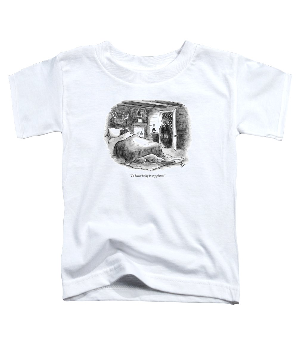 Plants Toddler T-Shirt featuring the drawing I'd Better Bring In My Plants by Frank Cotham