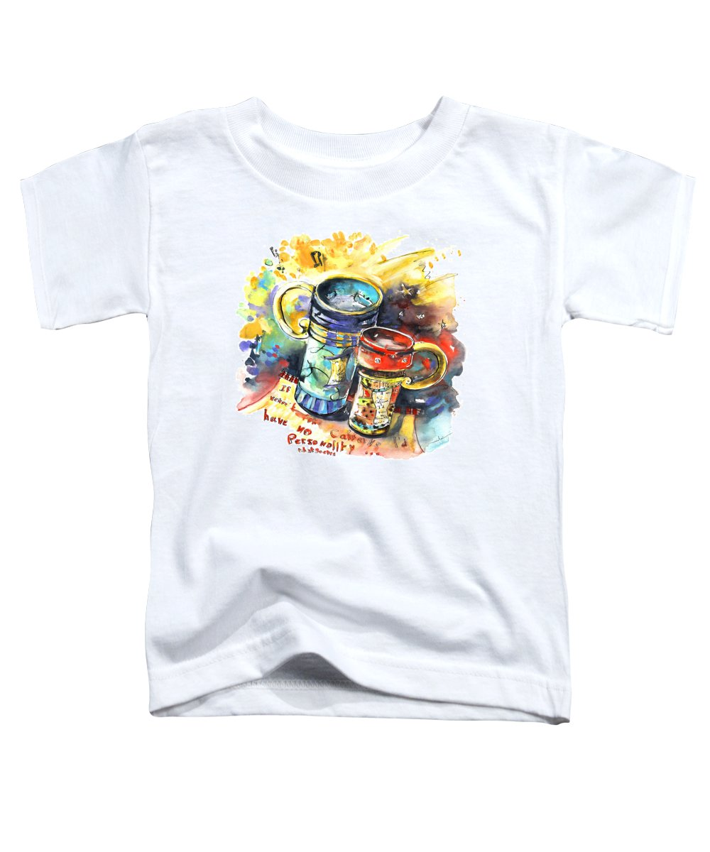 Cafe Crem Toddler T-Shirt featuring the painting If It Were Not For Caffeine by Miki De Goodaboom