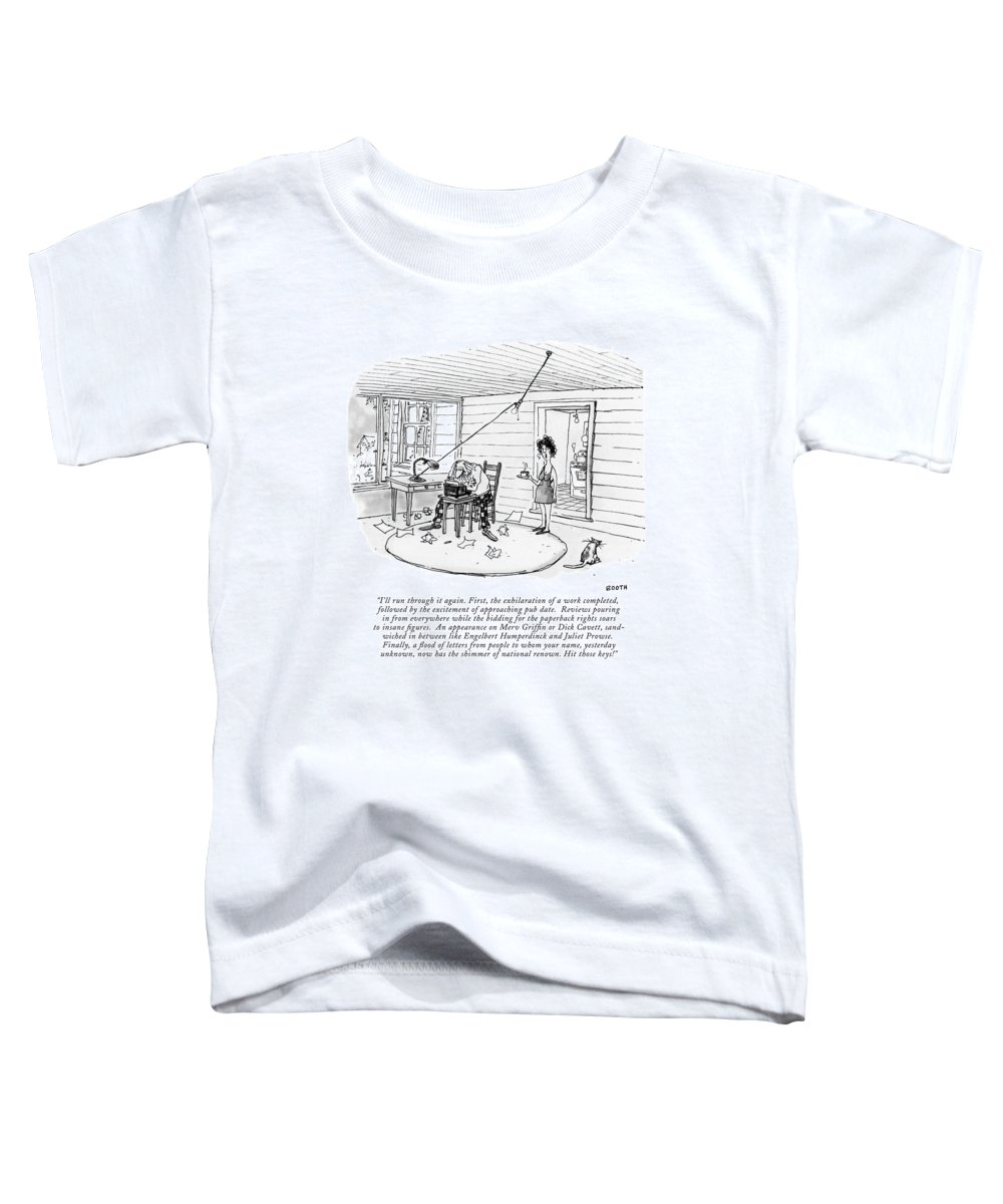 (a Woman Toddler T-Shirt featuring the drawing I'll Run Through It Again. First by George Booth