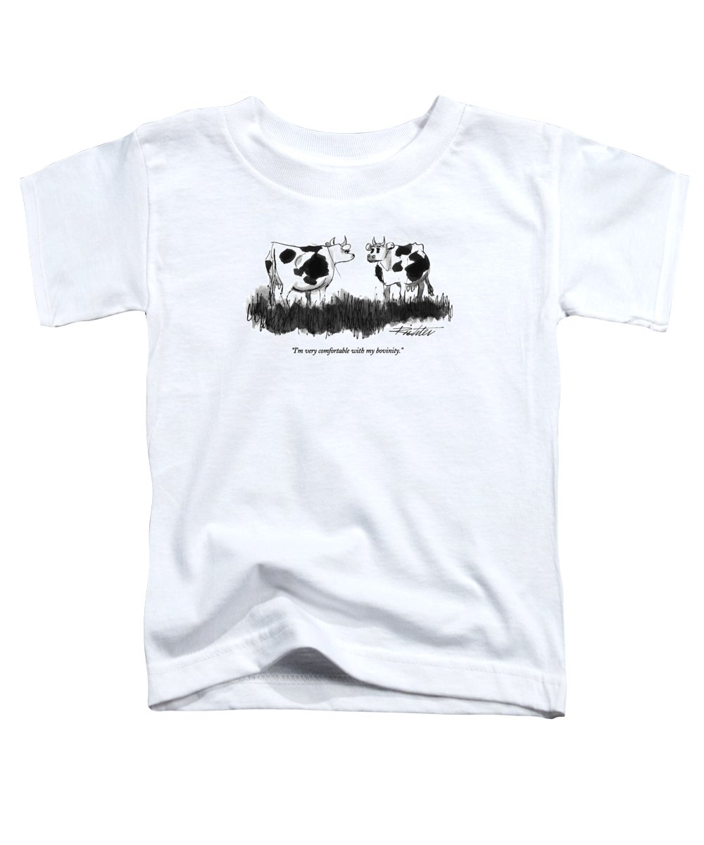Animals Toddler T-Shirt featuring the drawing I'm Very Comfortable With My Bovinity by Mischa Richter