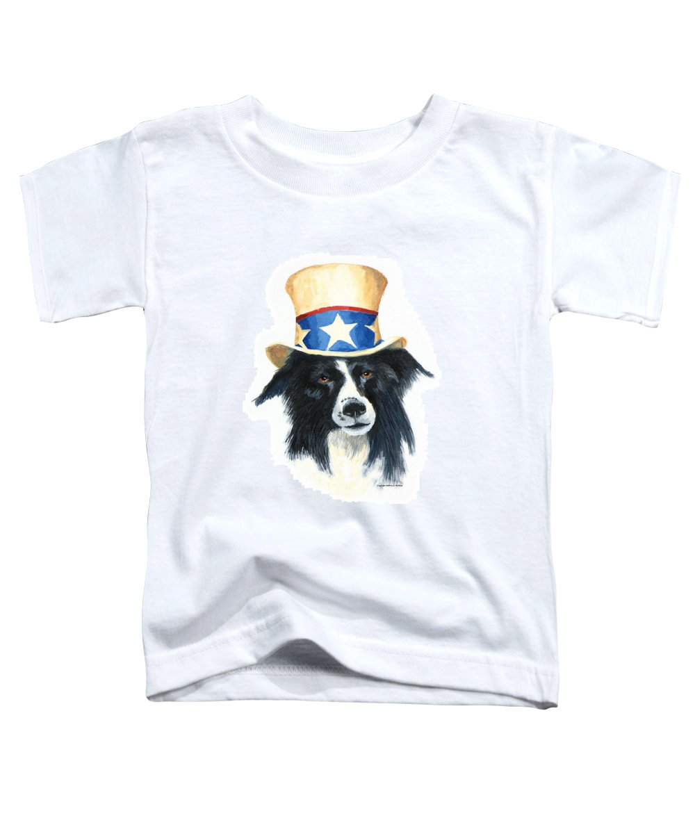 Dog Toddler T-Shirt featuring the painting In Dog We Trust by Jerry McElroy