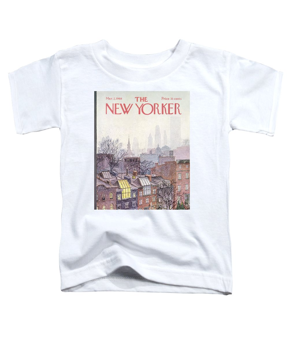 Albert Hubbell Ahu Toddler T-Shirt featuring the painting New Yorker March 2, 1968 by Albert Hubbell