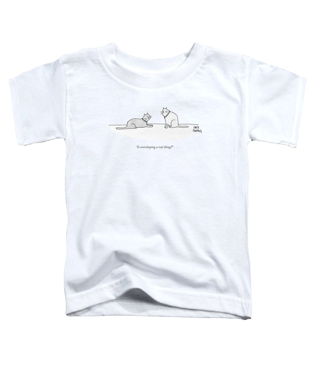 Cat Toddler T-Shirt featuring the drawing Is Oversleeping A Real Thing? by Amy Hwang