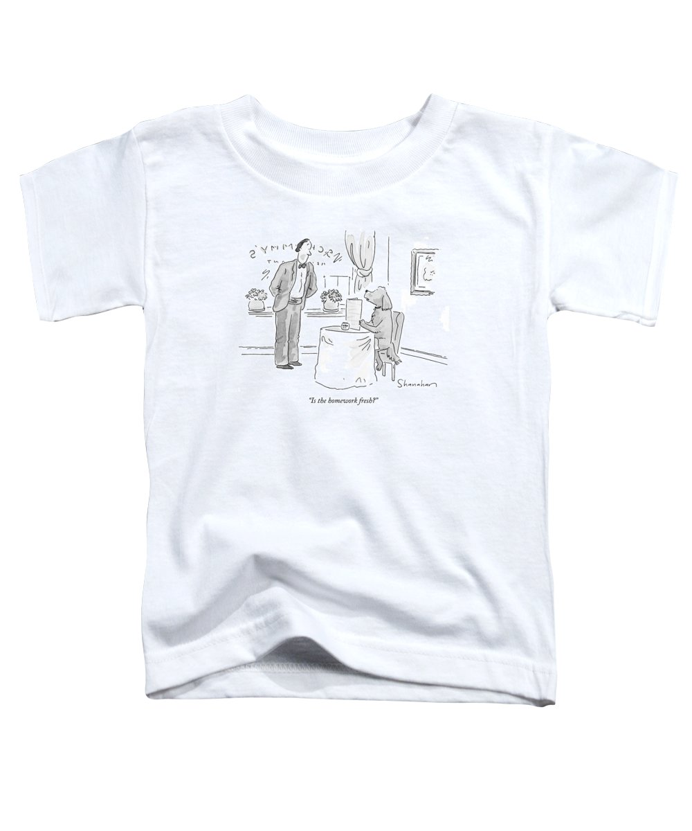 Homework Toddler T-Shirt featuring the drawing Is The Homework Fresh? by Danny Shanahan