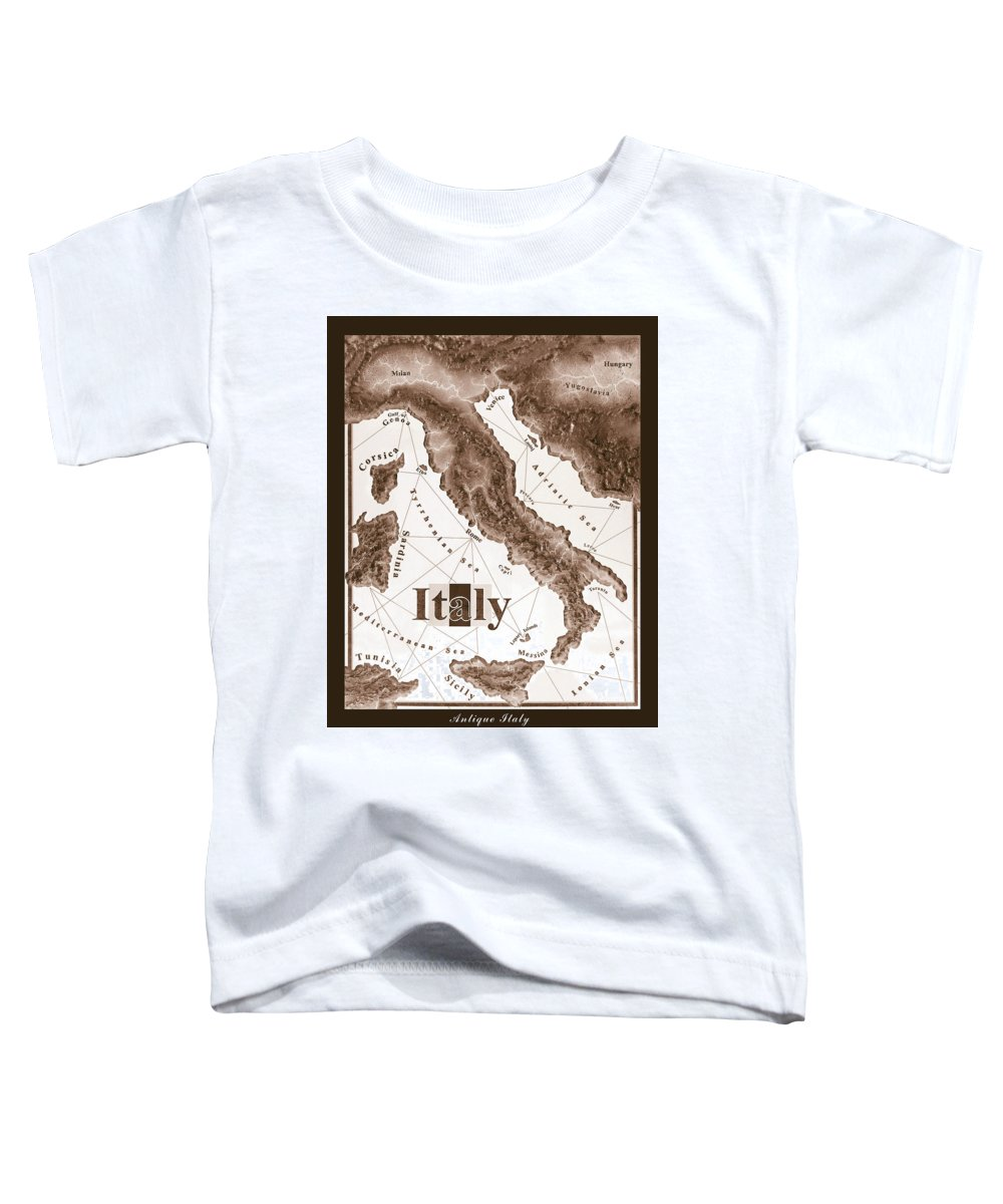 Italian Toddler T-Shirt featuring the mixed media Italian Map by Curtiss Shaffer