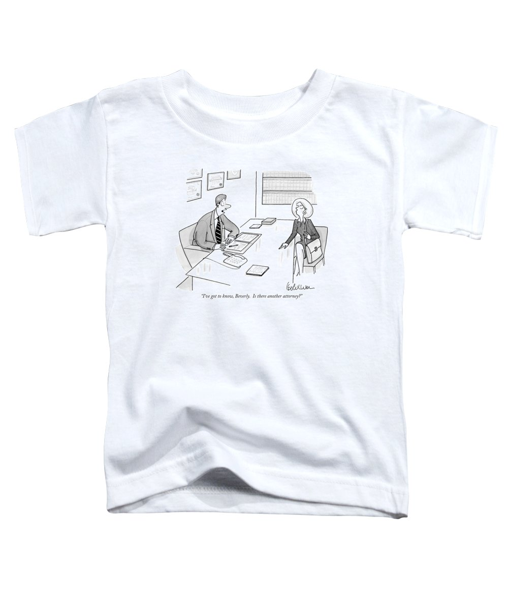 (lawyer At Desk To Woman Client.) Lawyers Toddler T-Shirt featuring the drawing I've Got To Know by Leo Cullum