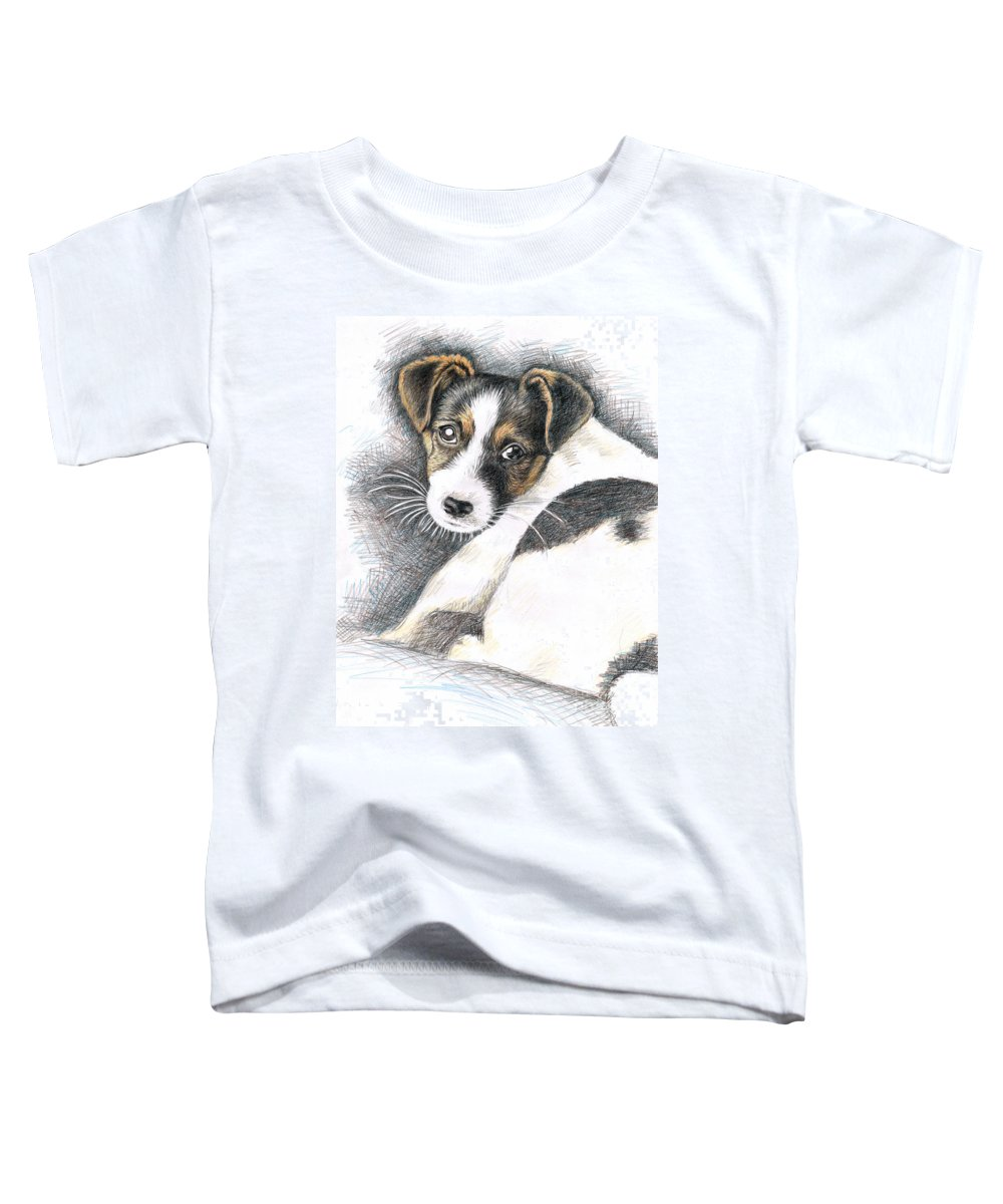 Dog Toddler T-Shirt featuring the drawing Jack Russell Puppy by Nicole Zeug