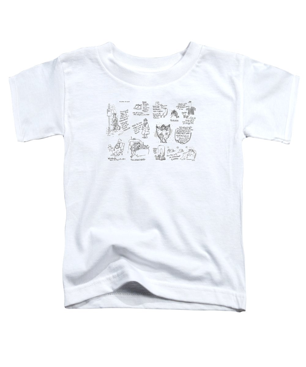 Keeping Warm (george Booth's Incomparable Attempts To Keep The Heat Up And Costs Down.) Technology Useless Fashion Seasons Winter Artkey 44834 Toddler T-Shirt featuring the drawing Keeping Warm by George Booth