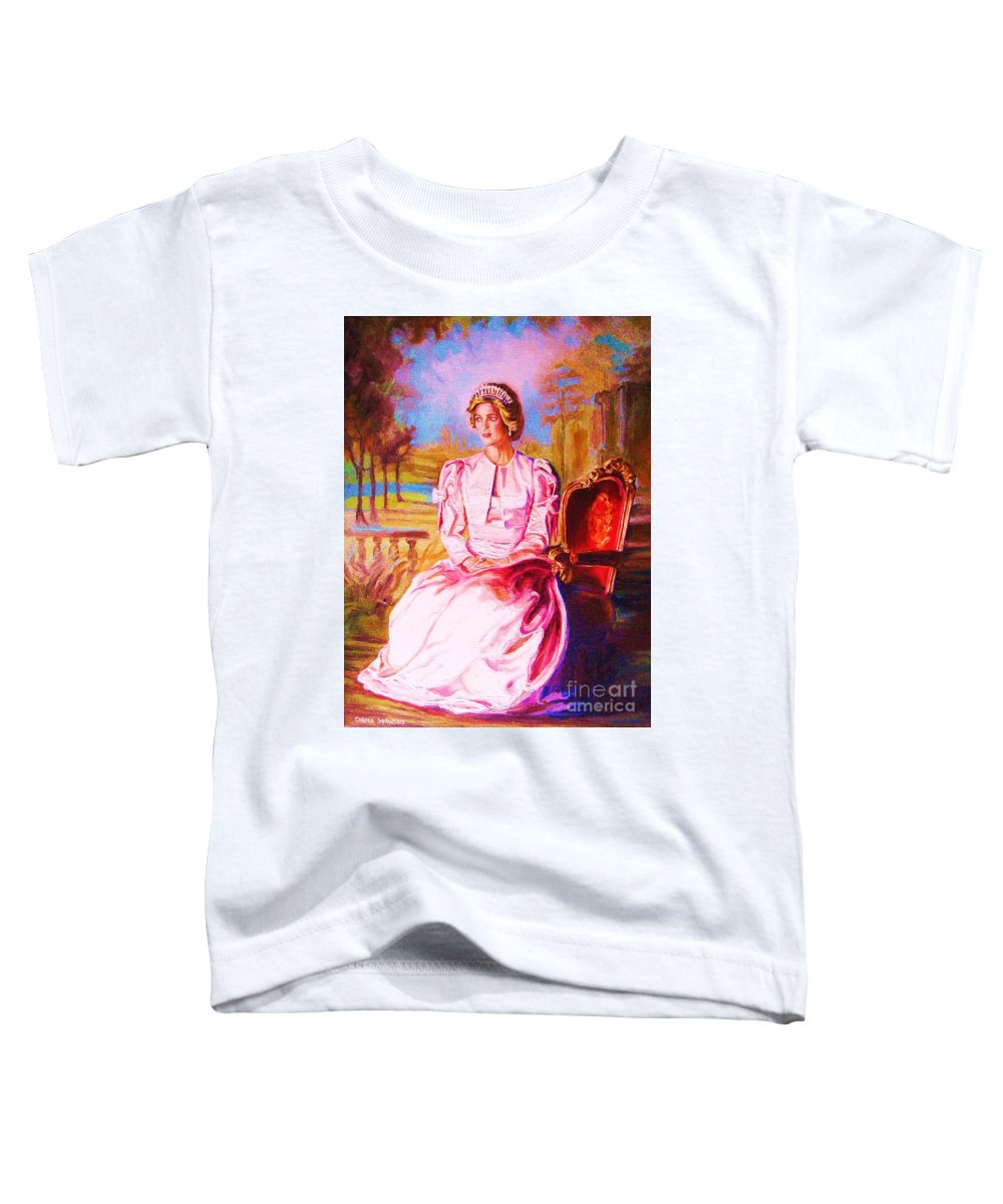 Princess Diana Toddler T-Shirt featuring the painting Lady Diana Our Princess by Carole Spandau