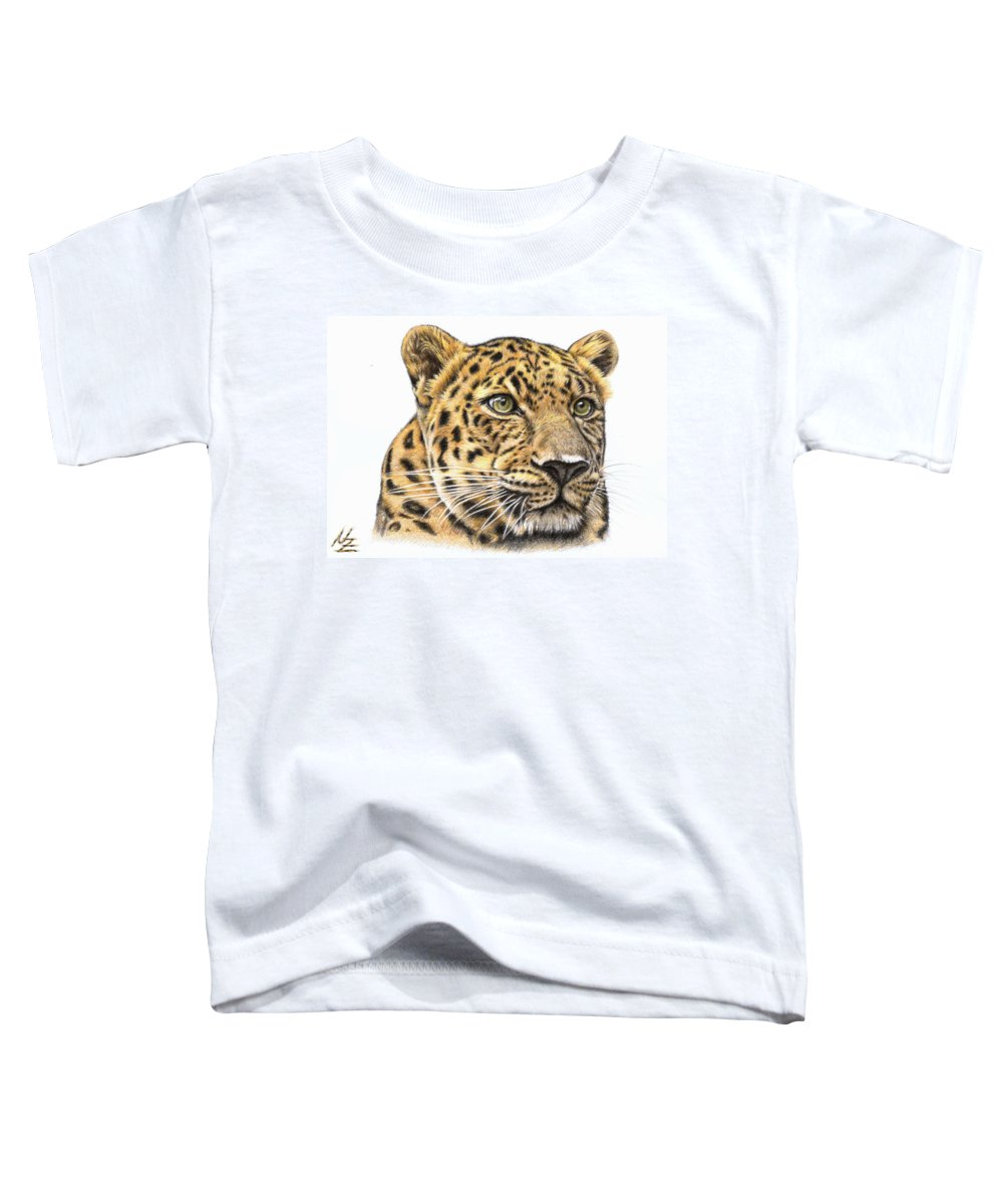 Leopard Toddler T-Shirt featuring the drawing Leopard by Nicole Zeug