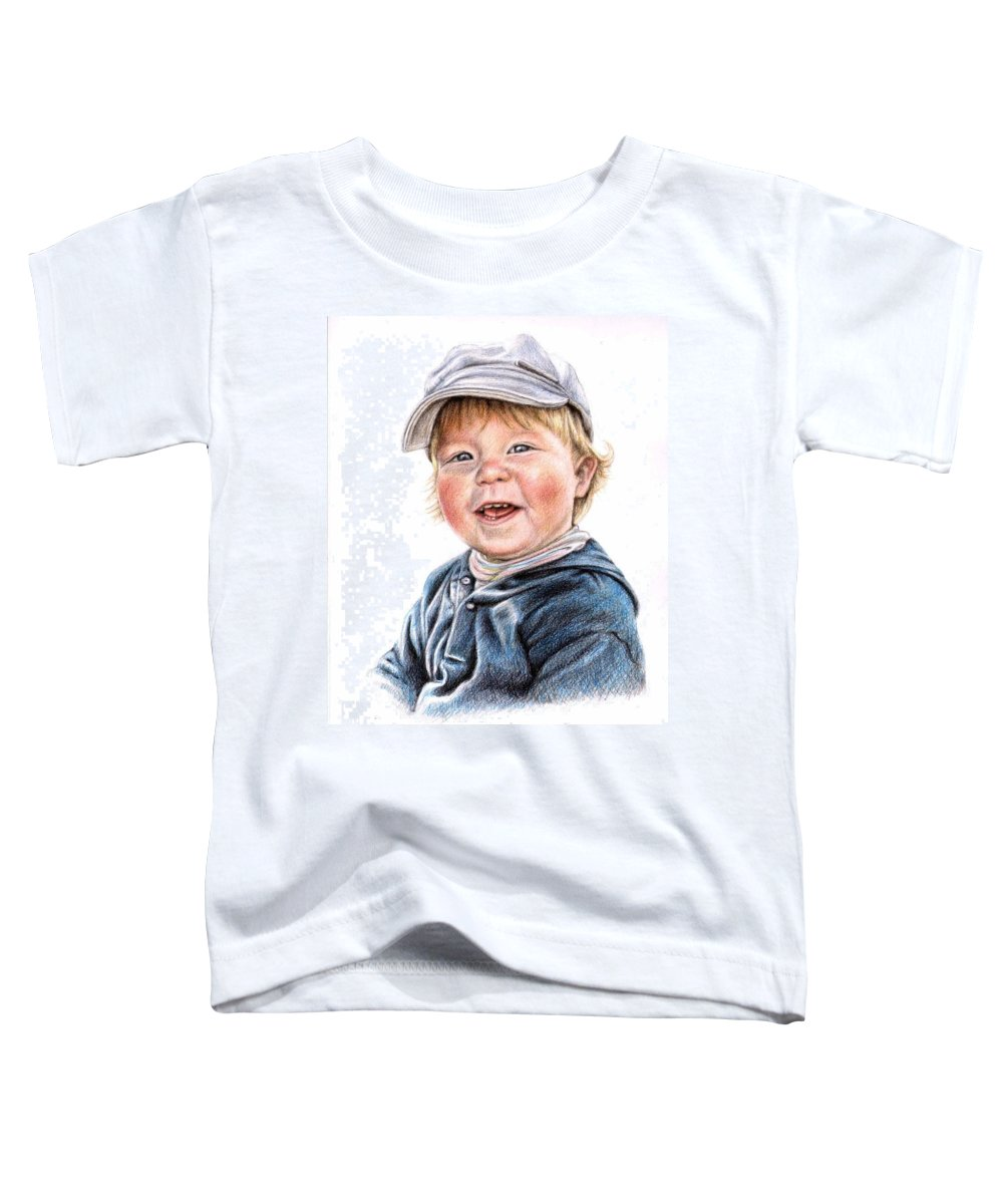 Boy Toddler T-Shirt featuring the drawing Little Boy by Nicole Zeug
