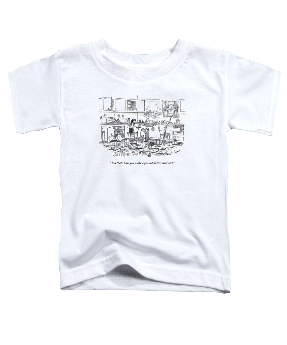 Recipes Toddler T-Shirt featuring the drawing Little Girl Handing A Little Boy A Sandwich by Tom Cheney