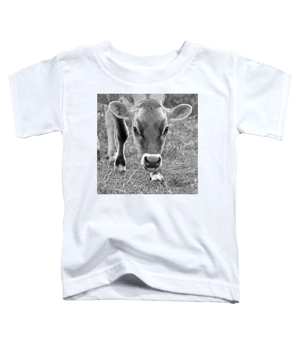 Jersey Cow Toddler T-Shirt featuring the photograph Look Into My Eyes - Jersey Cow Bw by Gill Billington