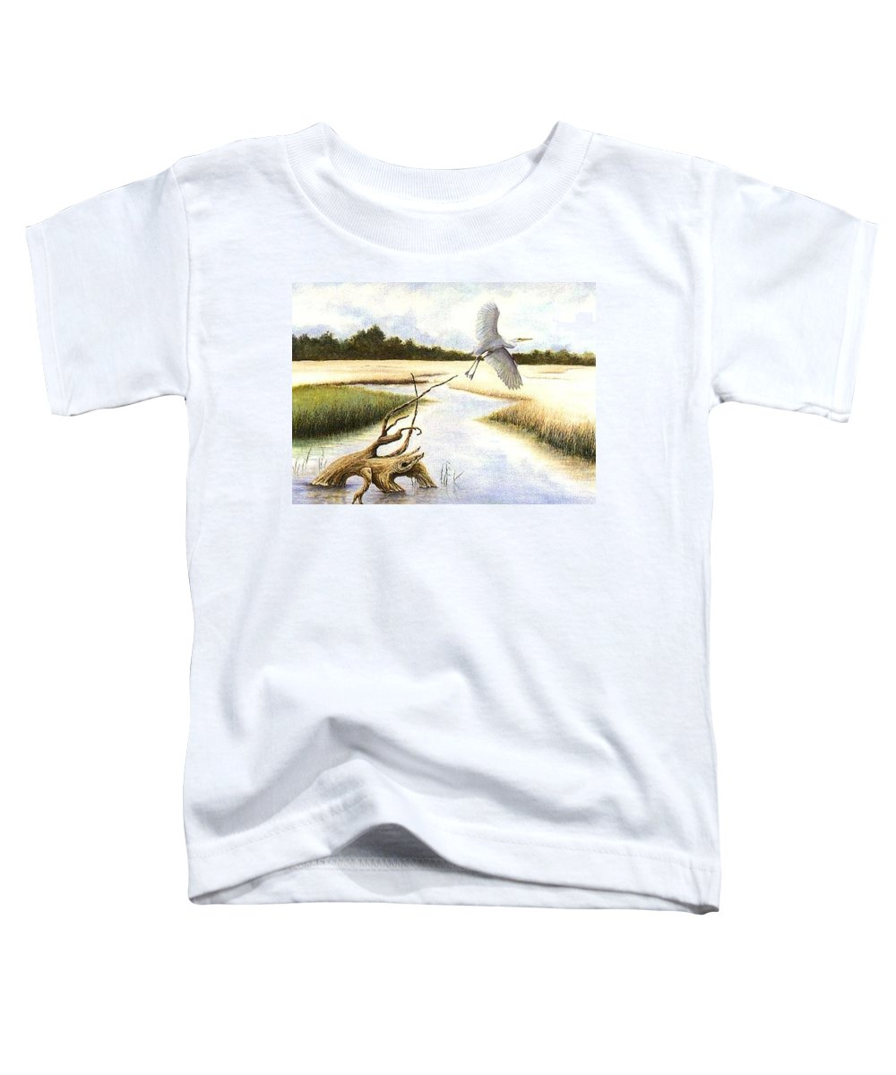 Egret Toddler T-Shirt featuring the painting Low Country Marsh by Ben Kiger