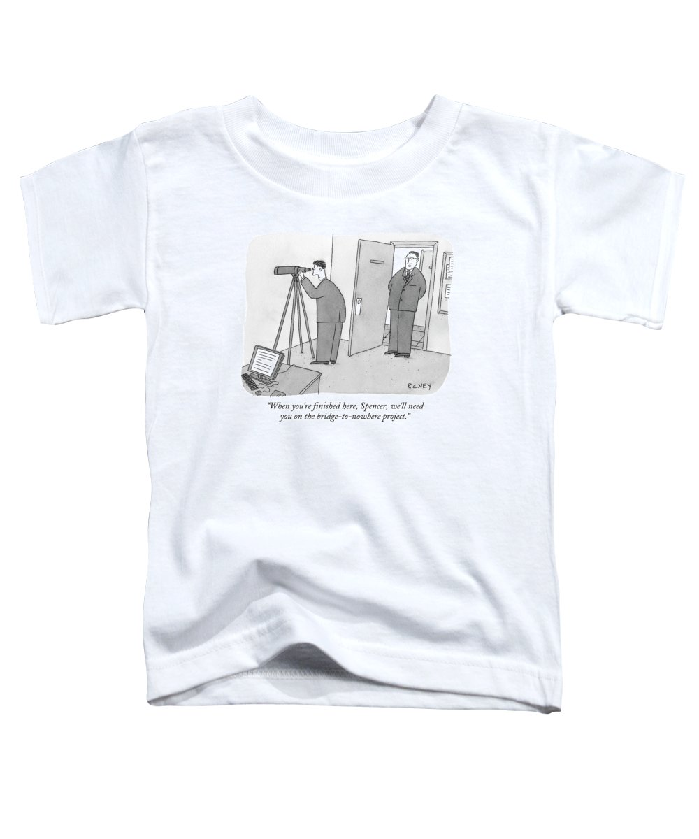 Spy Toddler T-Shirt featuring the drawing Man Stares At Wall With Telescope by Peter C. Vey