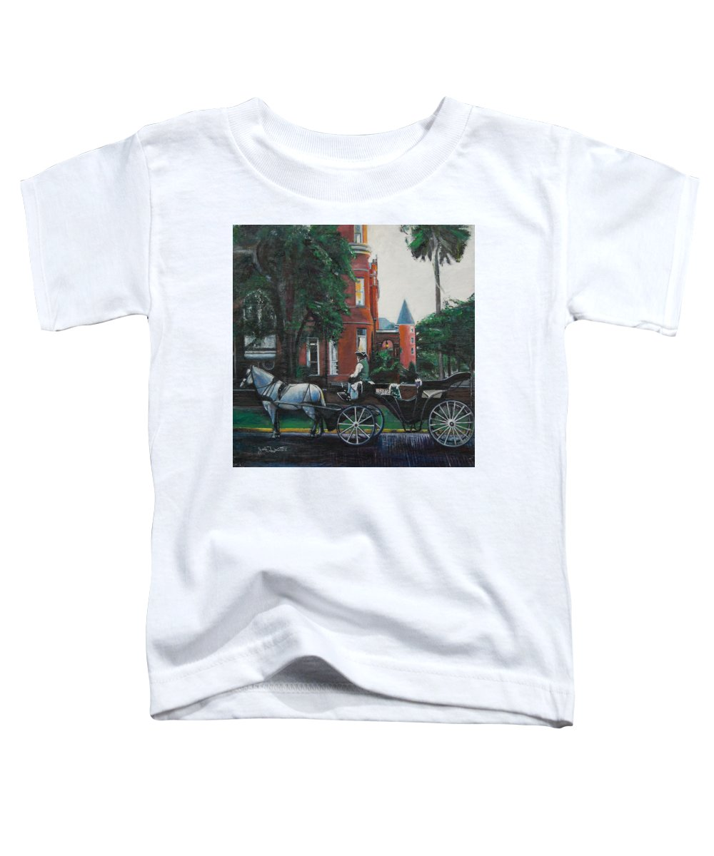 Toddler T-Shirt featuring the painting Mansion On Forsythe Savannah Georgia by Jude Darrien