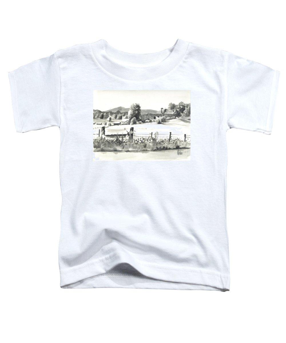Midsummer View Out Route Jj  No I101 Toddler T-Shirt featuring the painting Midsummer View Out Route Jj  No I101 by Kip DeVore