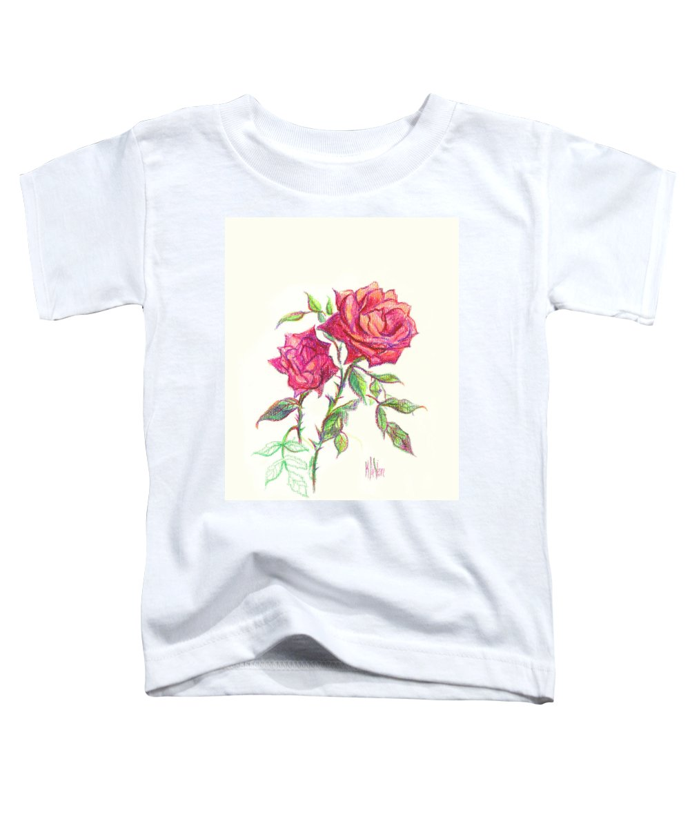 Nature Toddler T-Shirt featuring the painting Minature Red Rose by Kip DeVore