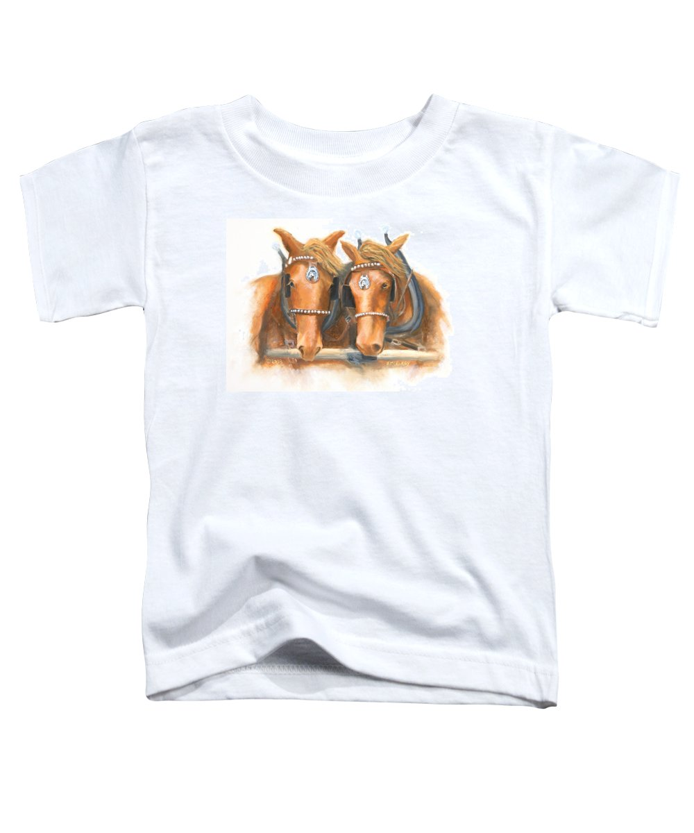 Horse Toddler T-Shirt featuring the painting Mini And Jake by Jerry McElroy
