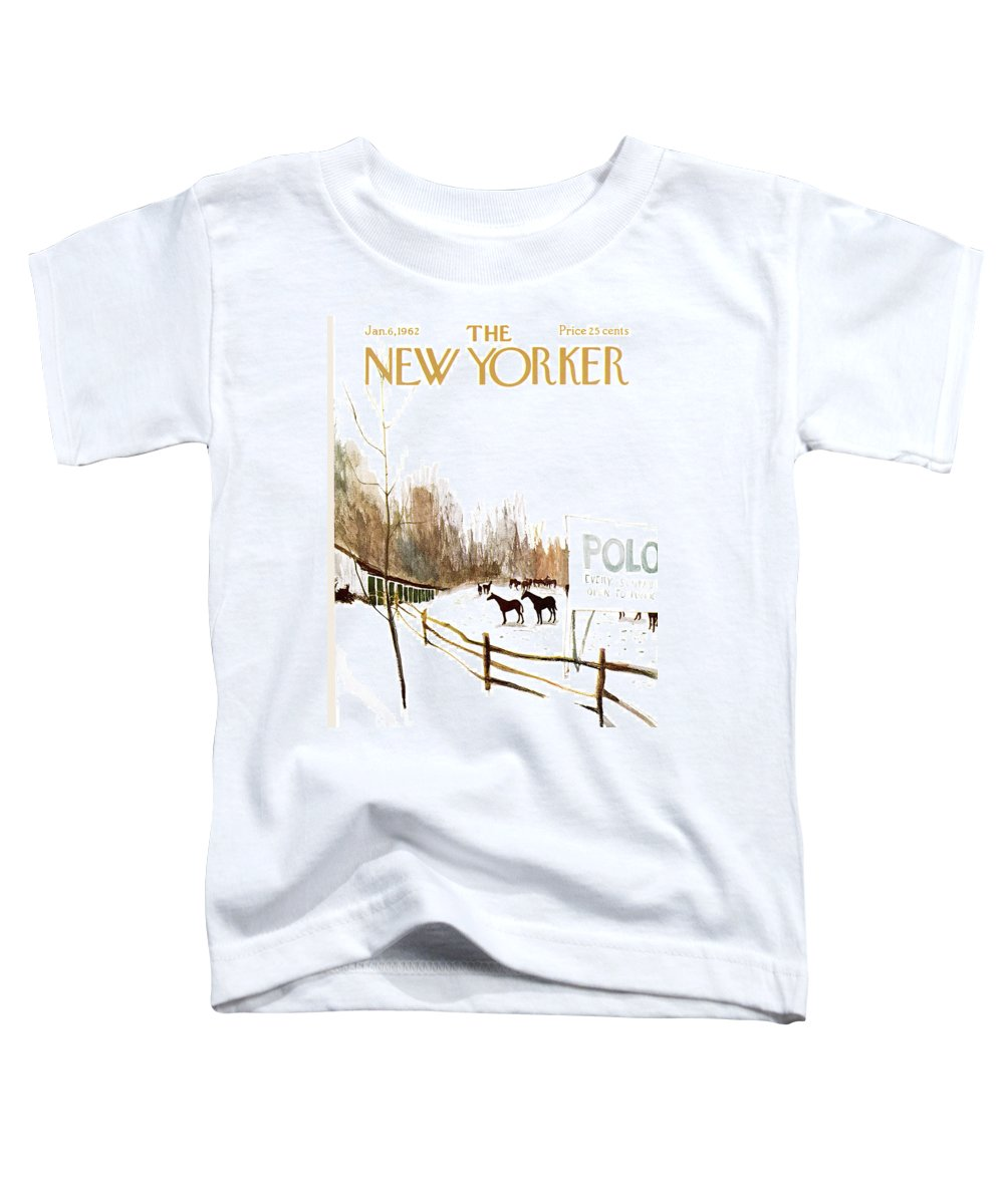 Suburb Toddler T-Shirt featuring the painting New Yorker January 6th, 1962 by James Stevenson