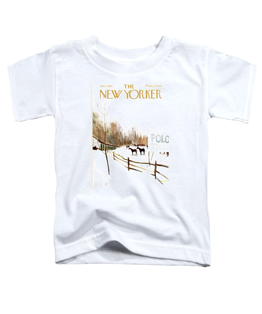 Suburb Country Outdoors Community Town Small Suburban Quaint Village Sport Sports Horse Horses Polo Snow Winter Snowing Jst James Stevenson Sumnerok James Stevenson Jst Artkey 49692 Toddler T-Shirt featuring the painting New Yorker January 6th, 1962 by James Stevenson