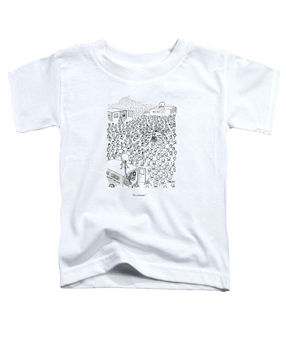 Television-news Toddler T-Shirt featuring the drawing No Comment by Jack Ziegler