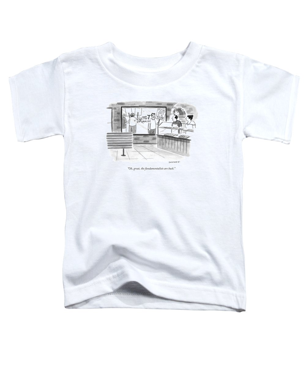 Fundamentalist Toddler T-Shirt featuring the drawing Oh, Great, The Fundamentalists Are Back by Drew Panckeri