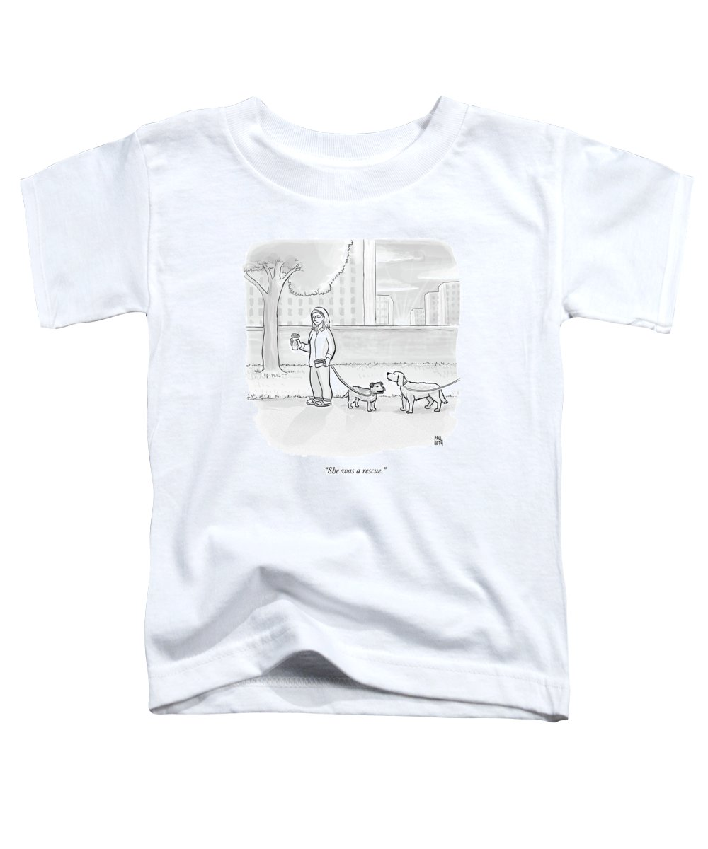 Dogs Toddler T-Shirt featuring the drawing One Dog Talks To Another by Paul Noth