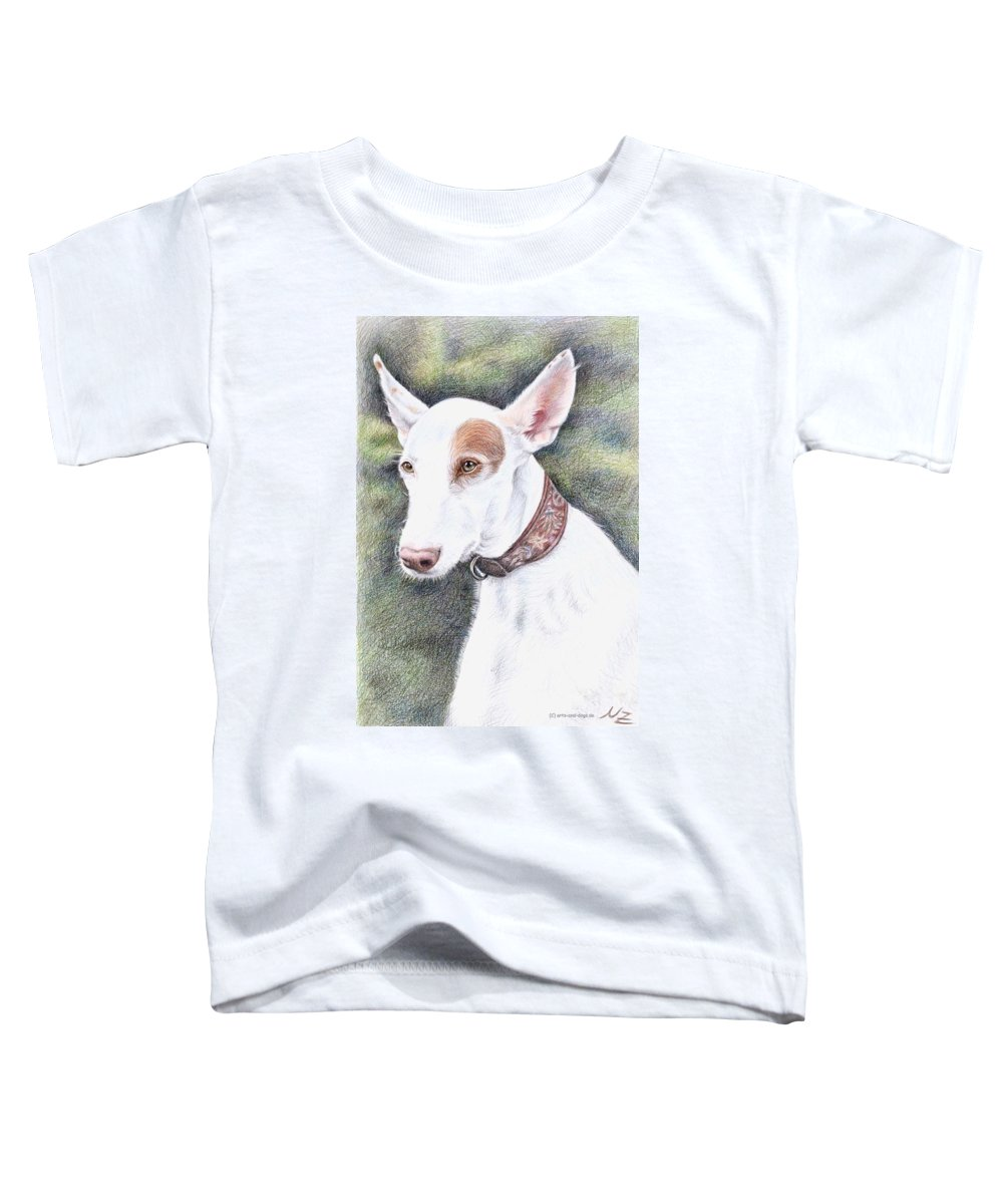 Dog Toddler T-Shirt featuring the drawing Podenco Ibicenco by Nicole Zeug