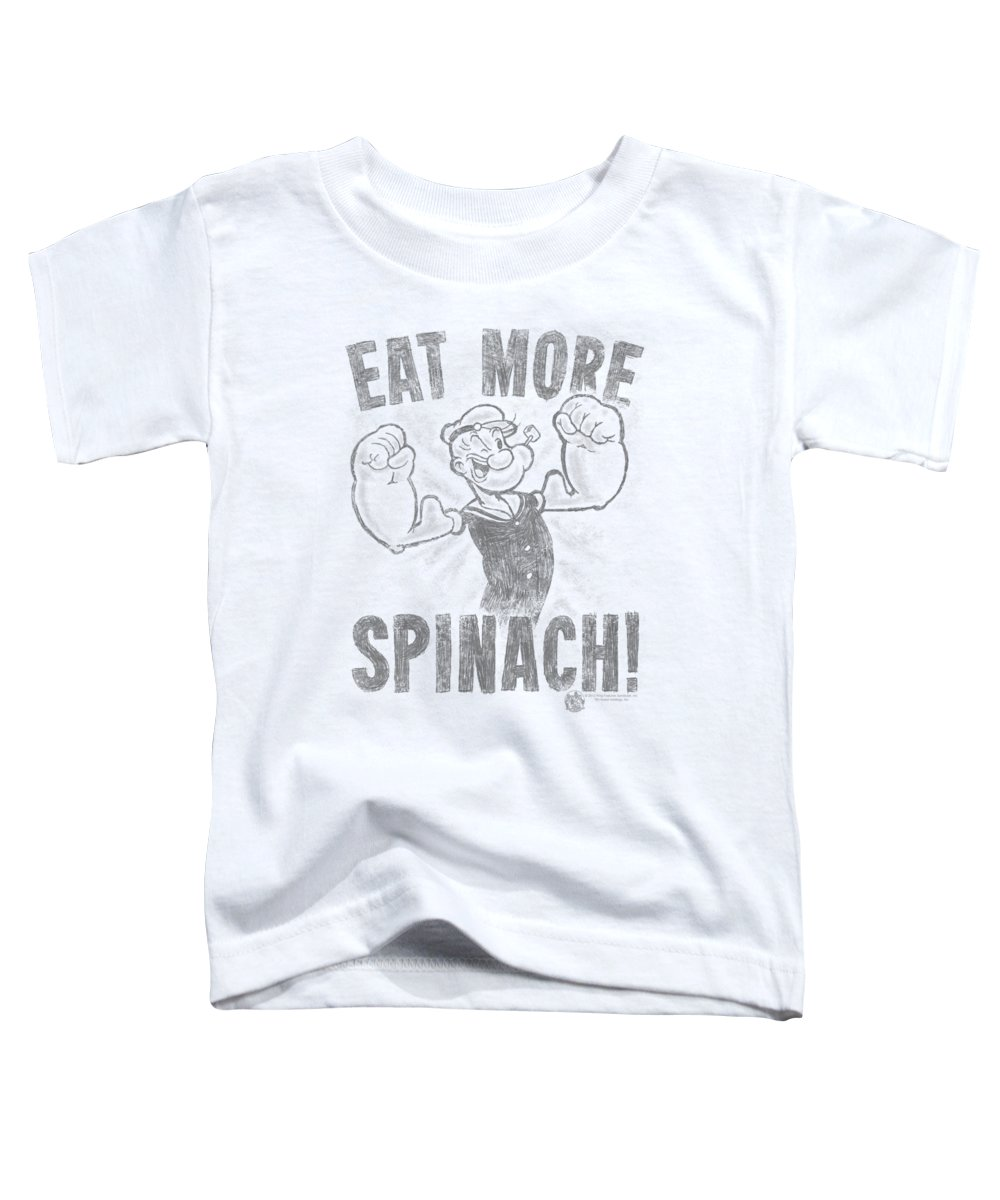 Popeye Toddler T-Shirt featuring the digital art Popeye - Eat More Spinach by Brand A