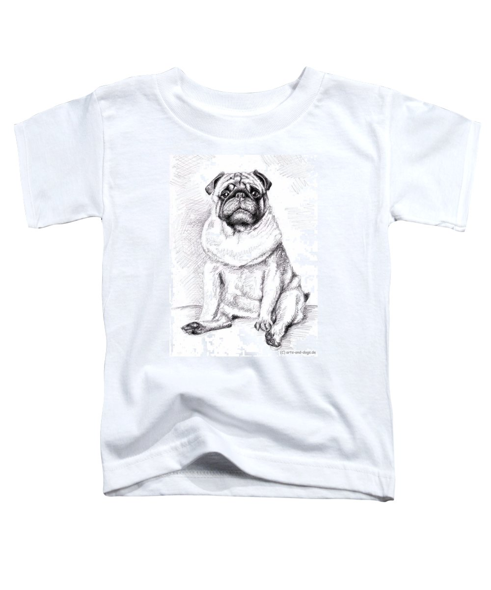 Dog Toddler T-Shirt featuring the drawing Pug Anton by Nicole Zeug