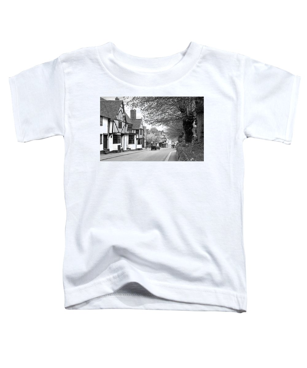 English Village Toddler T-Shirt featuring the photograph Quaint Old High Street - Bishop's Stortford In Black And White by Gill Billington