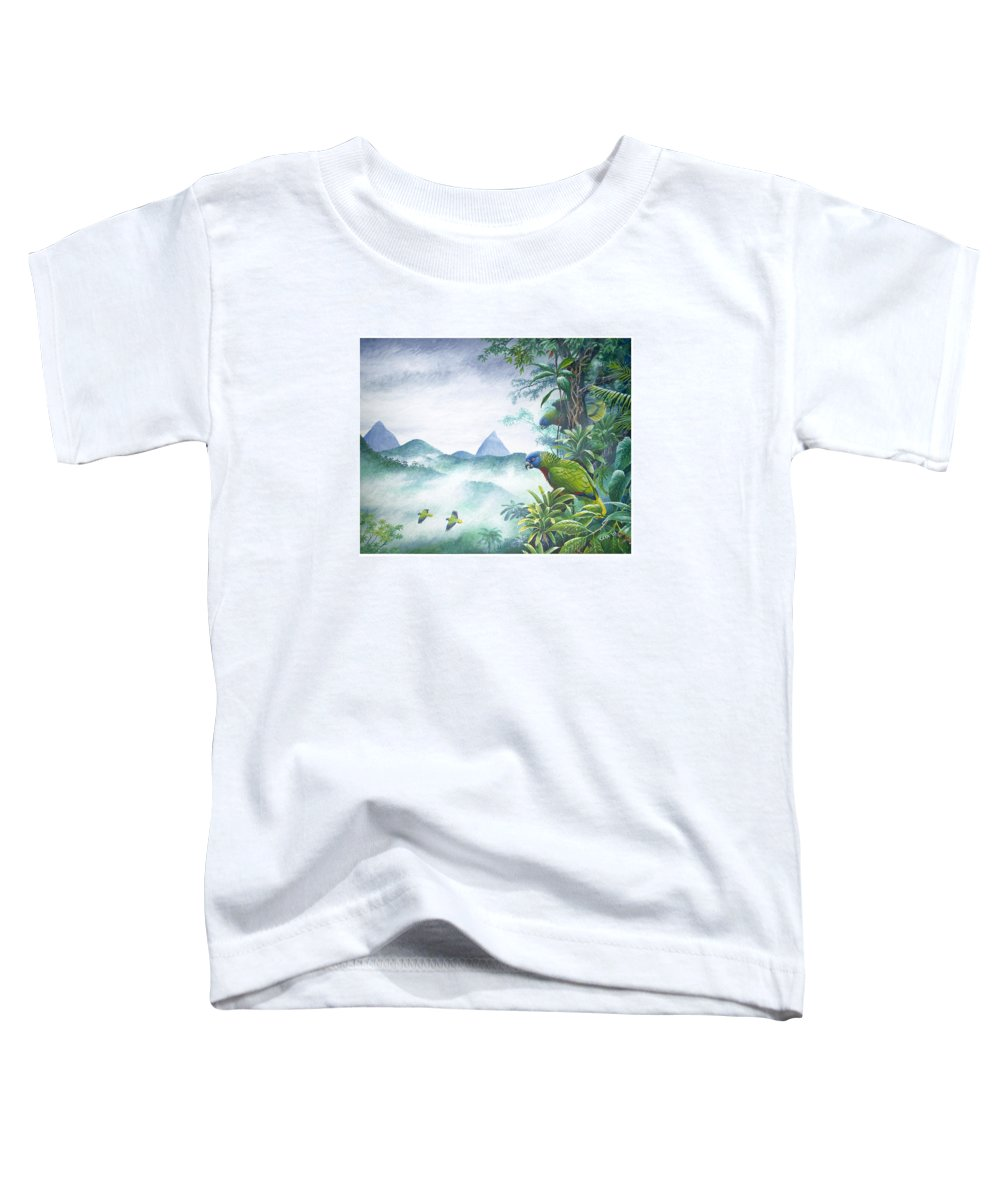 Chris Cox Toddler T-Shirt featuring the painting Rainforest Realm - St. Lucia Parrots by Christopher Cox