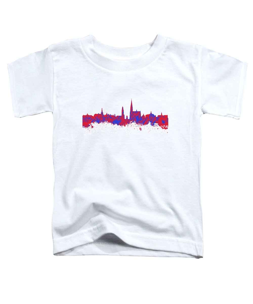 Antwerp Toddler T-Shirt featuring the photograph Red And Blue Art Print Of The Skyline Of Antwerp In Belgium by Chris Smith