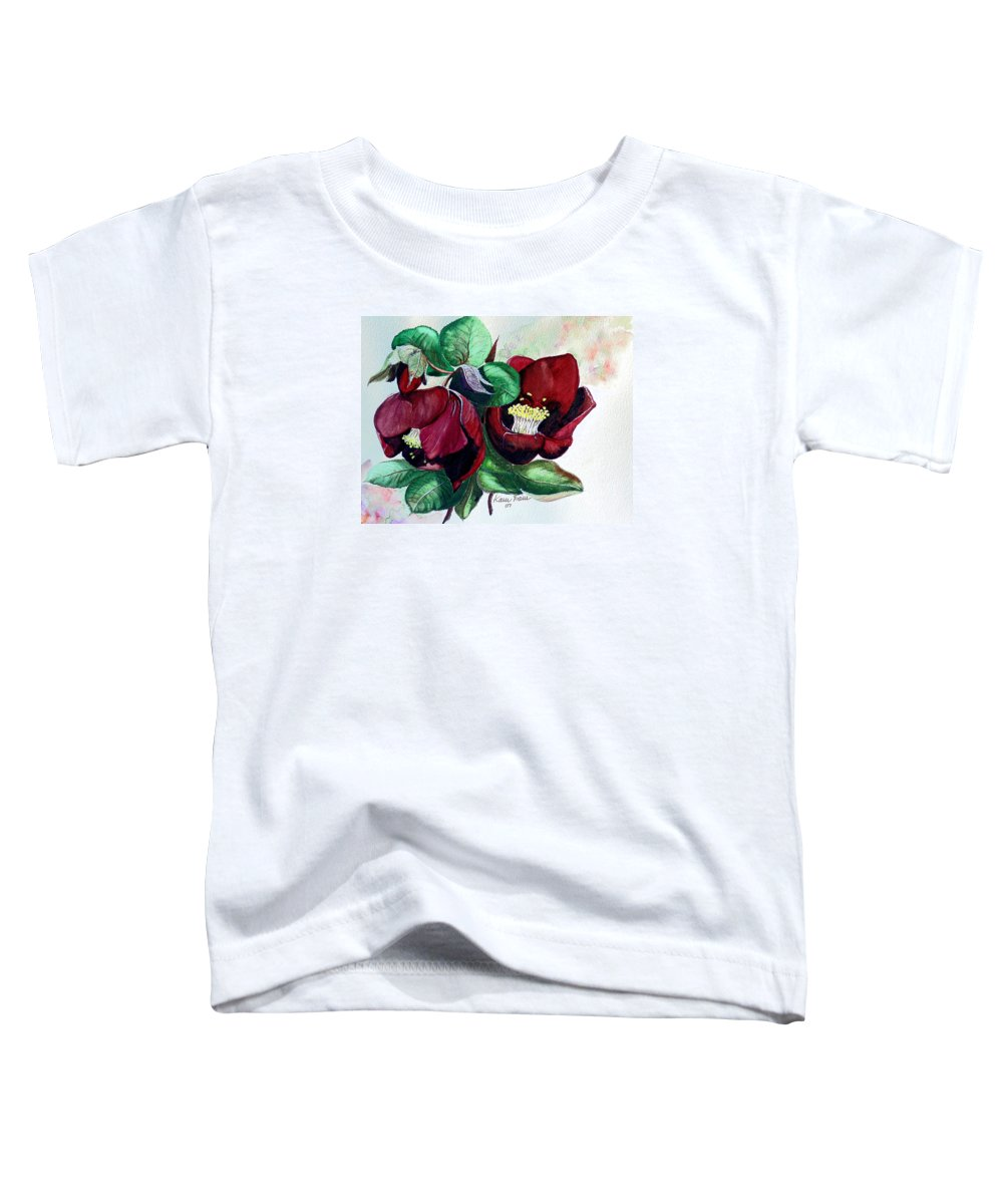 Red Helleborous Painting Flower Painting  Botanical Painting Watercolor Painting Original Painting Floral Painting Flower Painting Red Painting  Greeting Painting Toddler T-Shirt featuring the painting Red Helleborous by Karin Dawn Kelshall- Best