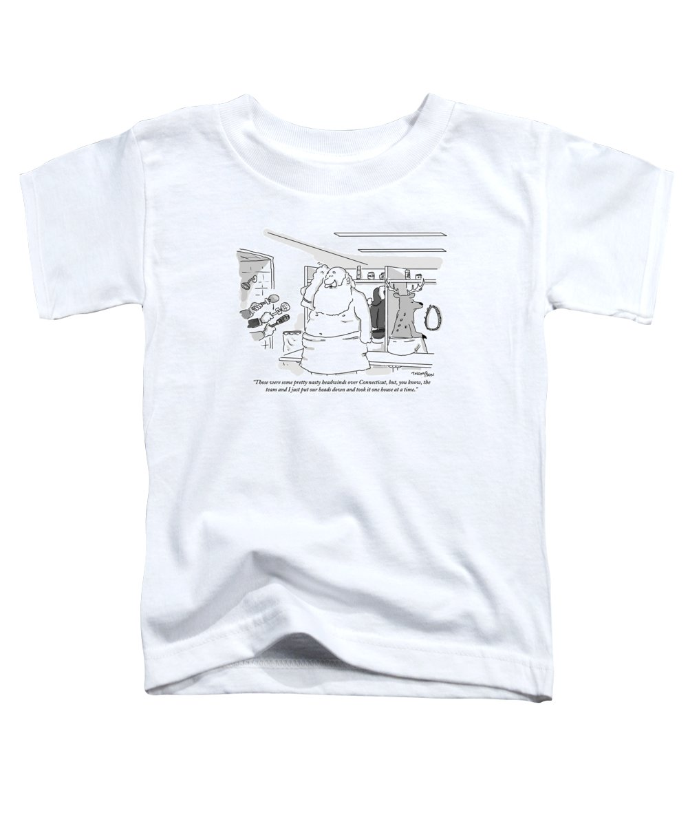 Christmas Toddler T-Shirt featuring the drawing Santa Claus Is In A Locker Room Speaking by Mark Thompson