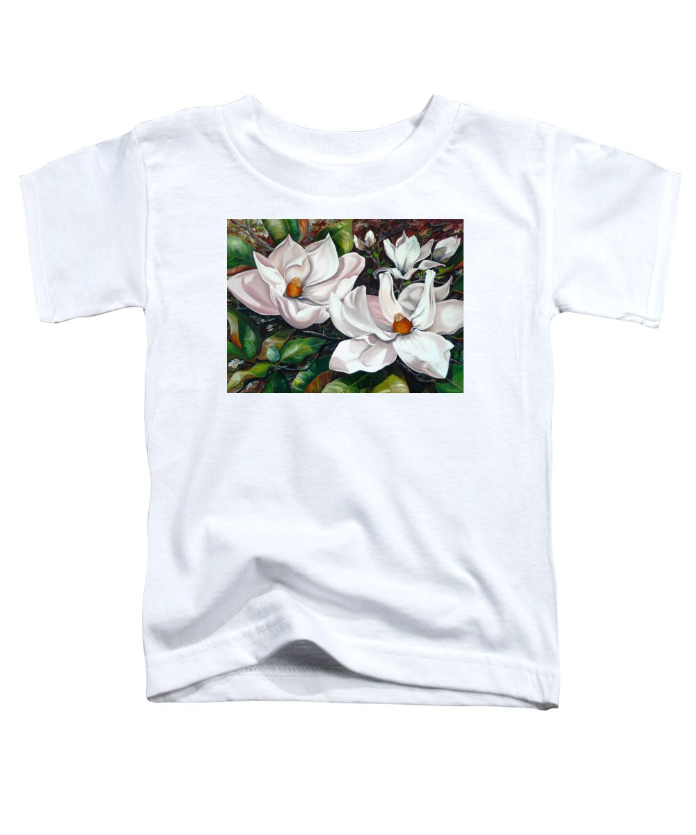 Magnolia Painting Flower Painting Botanical Painting Floral Painting Botanical Bloom Magnolia Flower White Flower Greeting Card Painting Toddler T-Shirt featuring the painting Scent Of The South. by Karin Dawn Kelshall- Best