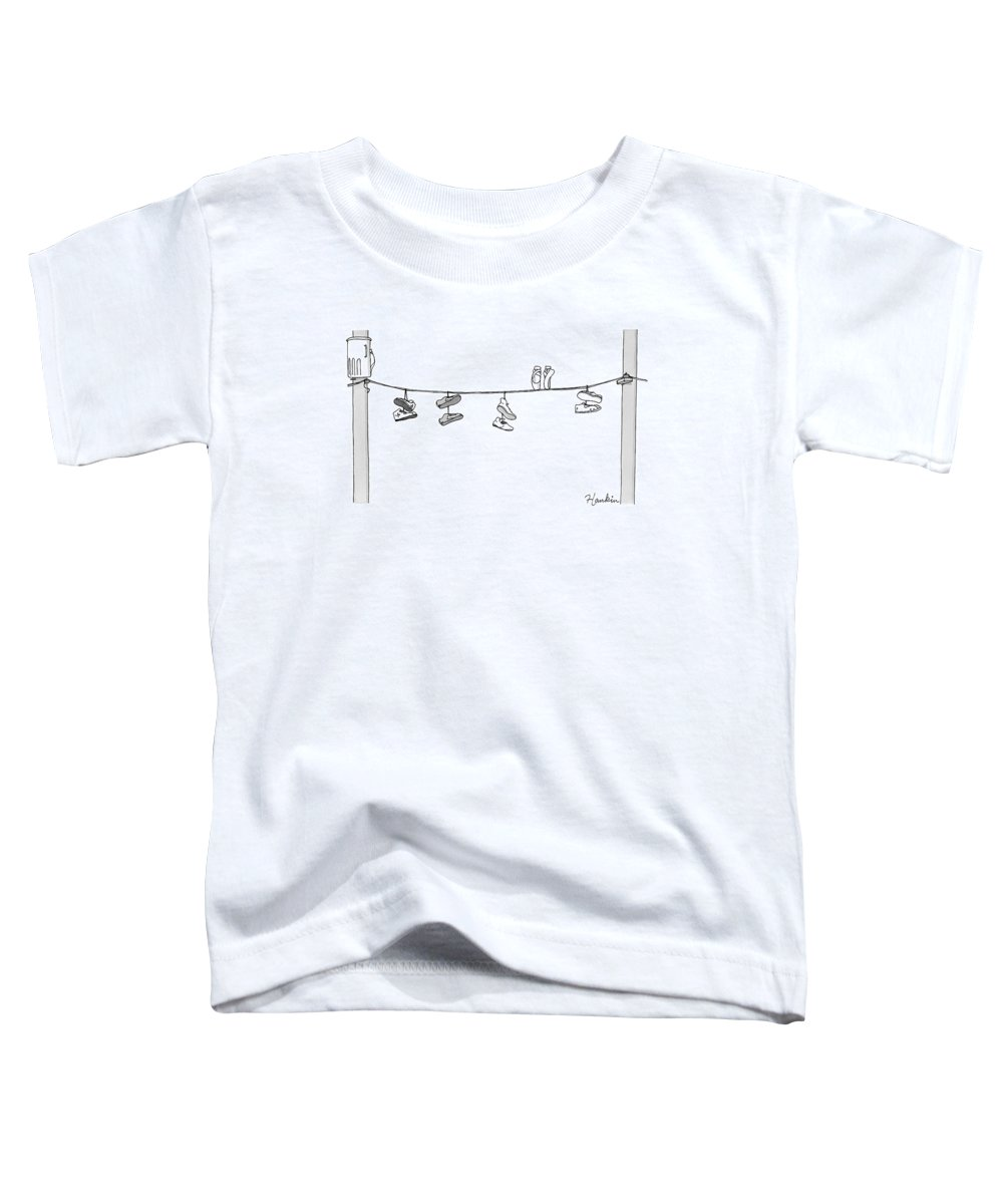 Captionless Toddler T-Shirt featuring the drawing Several Pairs Of Shoes Dangle Over An Electrical by Charlie Hankin