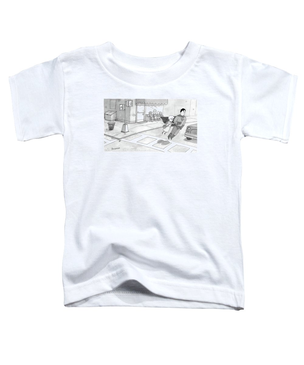 Superman Toddler T-Shirt featuring the drawing Superman Escorts An Elderly Woman Across The Road by Jason Patterson