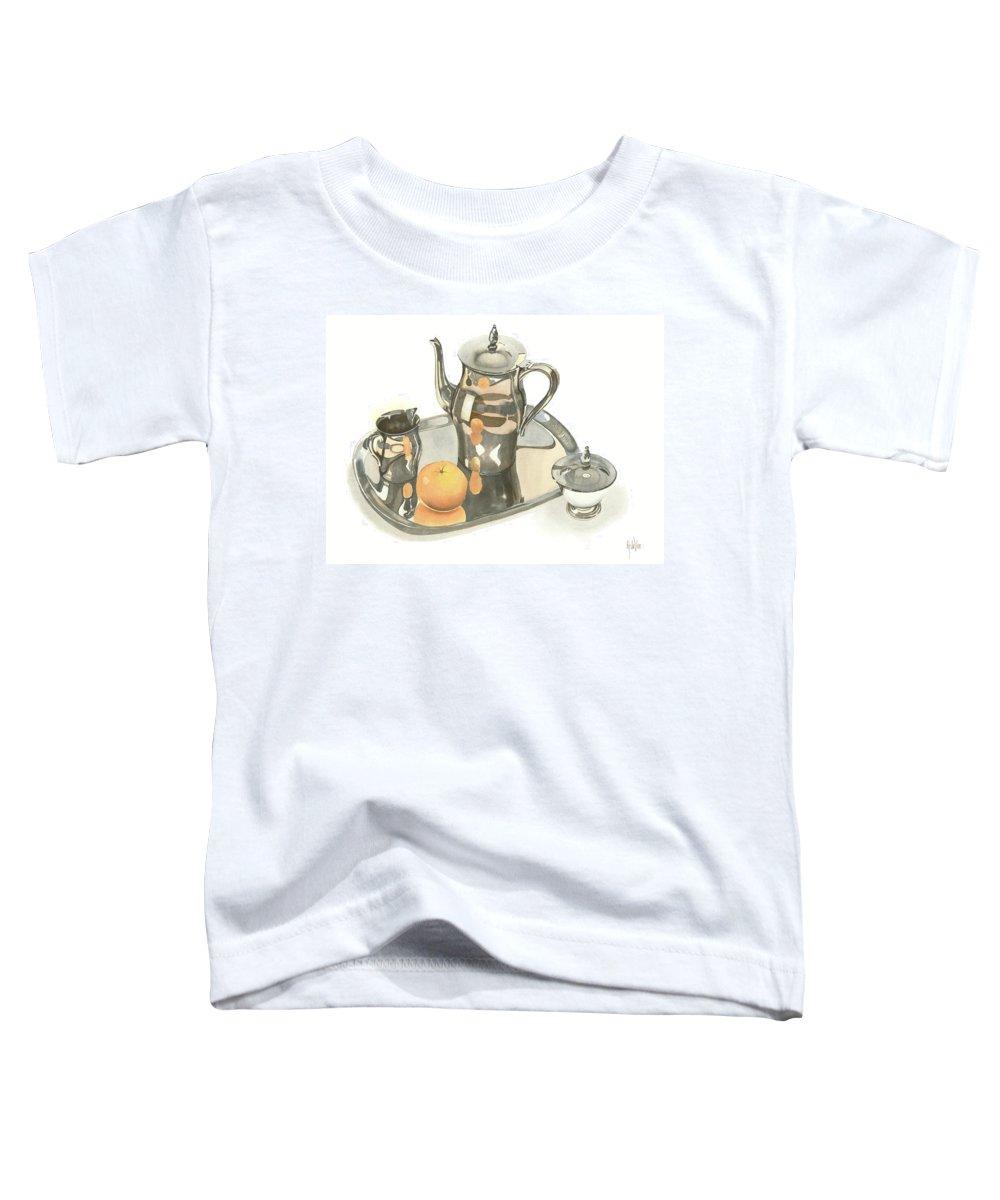 Tea Service With Orange Toddler T-Shirt featuring the painting Tea Service With Orange by Kip DeVore