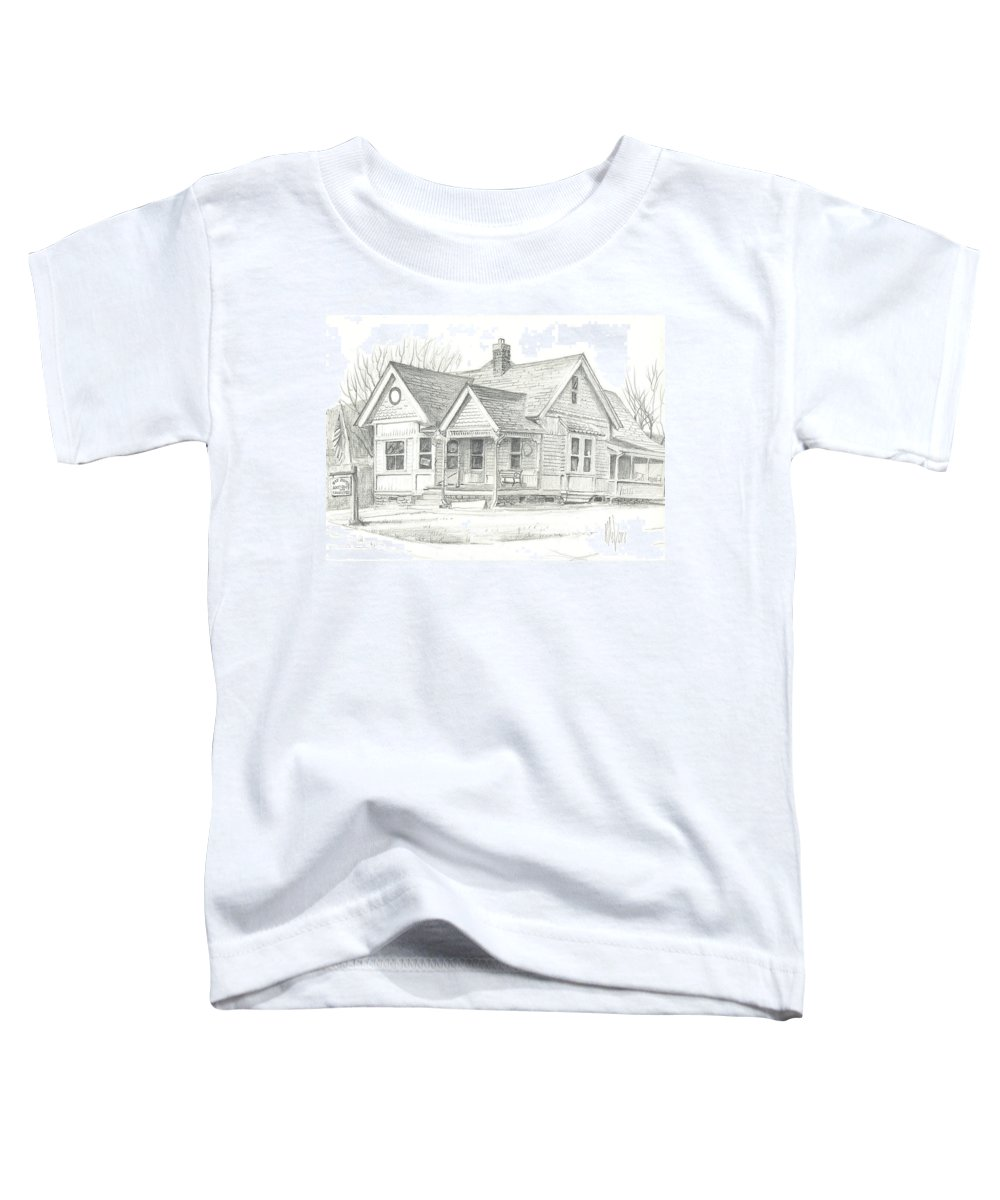 The Antique Shop Toddler T-Shirt featuring the drawing The Antique Shop by Kip DeVore