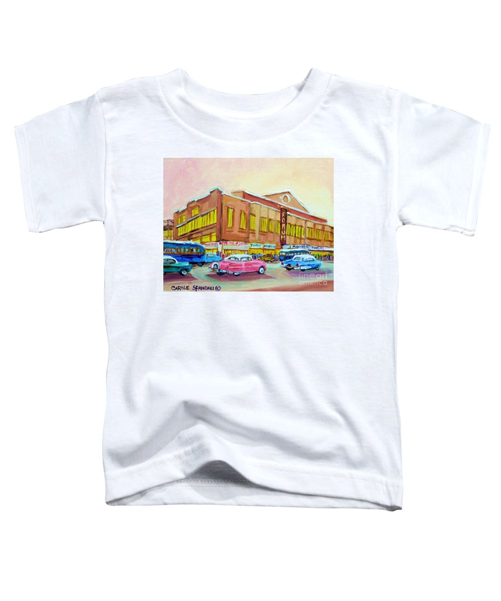 Montreal Toddler T-Shirt featuring the painting The Montreal Forum by Carole Spandau
