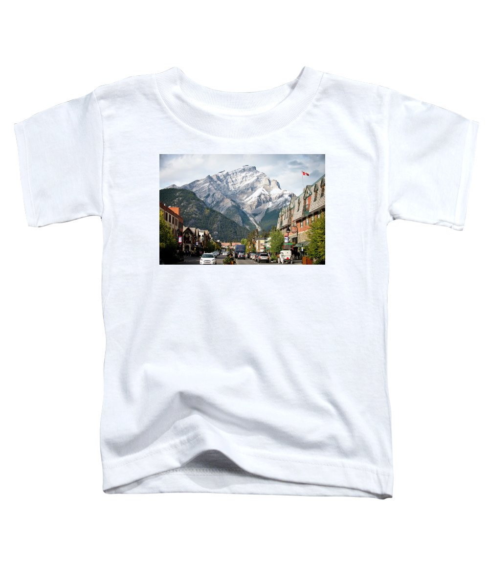 Alberta Toddler T-Shirt featuring the photograph The Picturesque Town Of Banff, Canada by Rob Hammer
